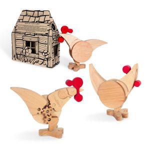 Kippen en haan met hokje van Wodibow