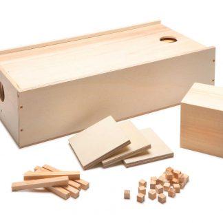 doos met de blokjes eentjes, tientallen honderdtallen en duizendtallen